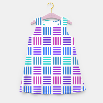 Thumbnail image of Blue and Purple Geometric Block Stripes Repeat Digital Pattern Girl's summer dress, Live Heroes