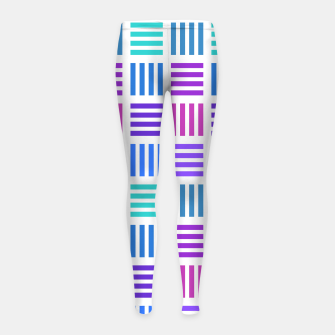 Imagen en miniatura de Blue and Purple Geometric Block Stripes Repeat Digital Pattern Girl's leggings, Live Heroes