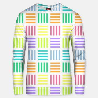 Thumbnail image of Multicoloured Geometric Block Stripes Repeat Digital Pattern Cotton sweater, Live Heroes
