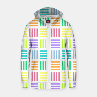 Thumbnail image of Multicoloured Geometric Block Stripes Repeat Digital Pattern Cotton zip up hoodie, Live Heroes