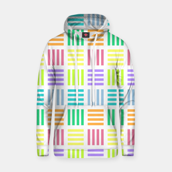 Thumbnail image of Multicoloured Geometric Block Stripes Repeat Digital Pattern Cotton hoodie, Live Heroes