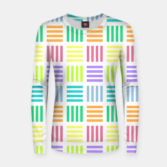 Thumbnail image of Multicoloured Geometric Block Stripes Repeat Digital Pattern Woman cotton sweater, Live Heroes