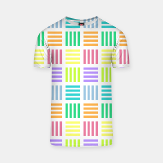 Thumbnail image of Multicoloured Geometric Block Stripes Repeat Digital Pattern T-shirt, Live Heroes