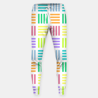 Thumbnail image of Multicoloured Geometric Block Stripes Repeat Digital Pattern Cotton sweatpants, Live Heroes