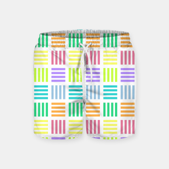 Imagen en miniatura de Multicoloured Geometric Block Stripes Repeat Digital Pattern Swim Shorts, Live Heroes