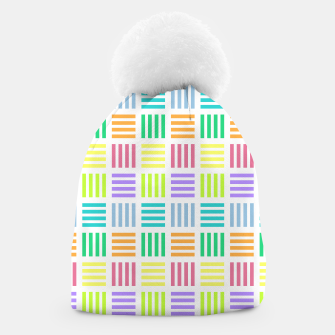 Thumbnail image of Multicoloured Geometric Block Stripes Repeat Digital Pattern Beanie, Live Heroes