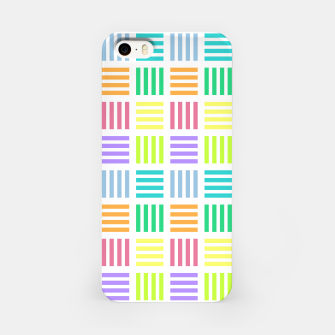 Thumbnail image of Multicoloured Geometric Block Stripes Repeat Digital Pattern iPhone Case, Live Heroes