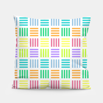 Thumbnail image of Multicoloured Geometric Block Stripes Repeat Digital Pattern Pillow, Live Heroes