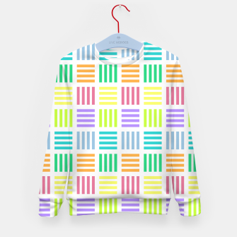 Thumbnail image of Multicoloured Geometric Block Stripes Repeat Digital Pattern Kid's sweater, Live Heroes