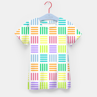 Thumbnail image of Multicoloured Geometric Block Stripes Repeat Digital Pattern Kid's t-shirt, Live Heroes