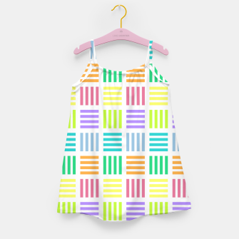 Thumbnail image of Multicoloured Geometric Block Stripes Repeat Digital Pattern Girl's dress, Live Heroes