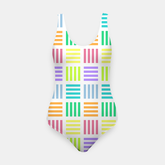 Imagen en miniatura de Multicoloured Geometric Block Stripes Repeat Digital Pattern Swimsuit, Live Heroes