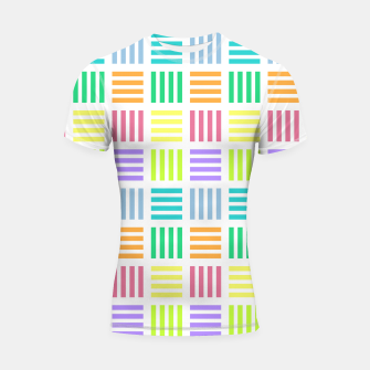 Imagen en miniatura de Multicoloured Geometric Block Stripes Repeat Digital Pattern Shortsleeve rashguard, Live Heroes