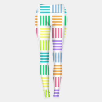 Imagen en miniatura de Multicoloured Geometric Block Stripes Repeat Digital Pattern Leggings, Live Heroes