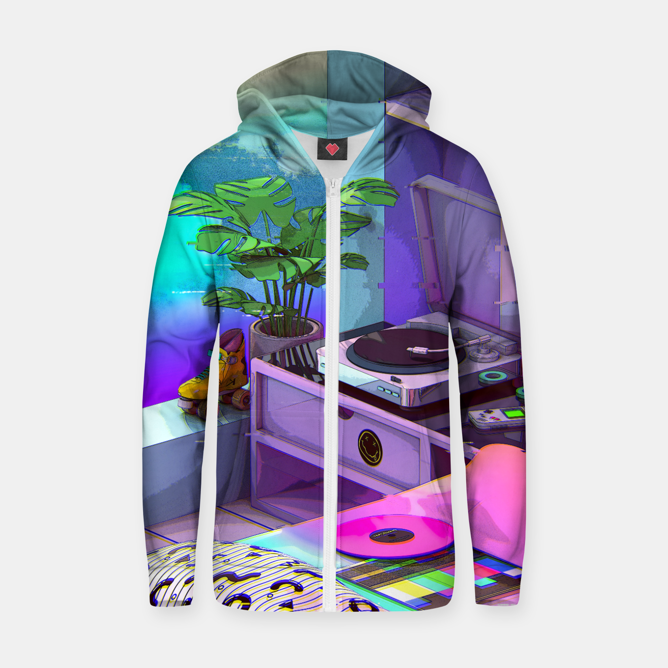 Image of vaporwave aesthetic Cotton zip up hoodie - Live Heroes