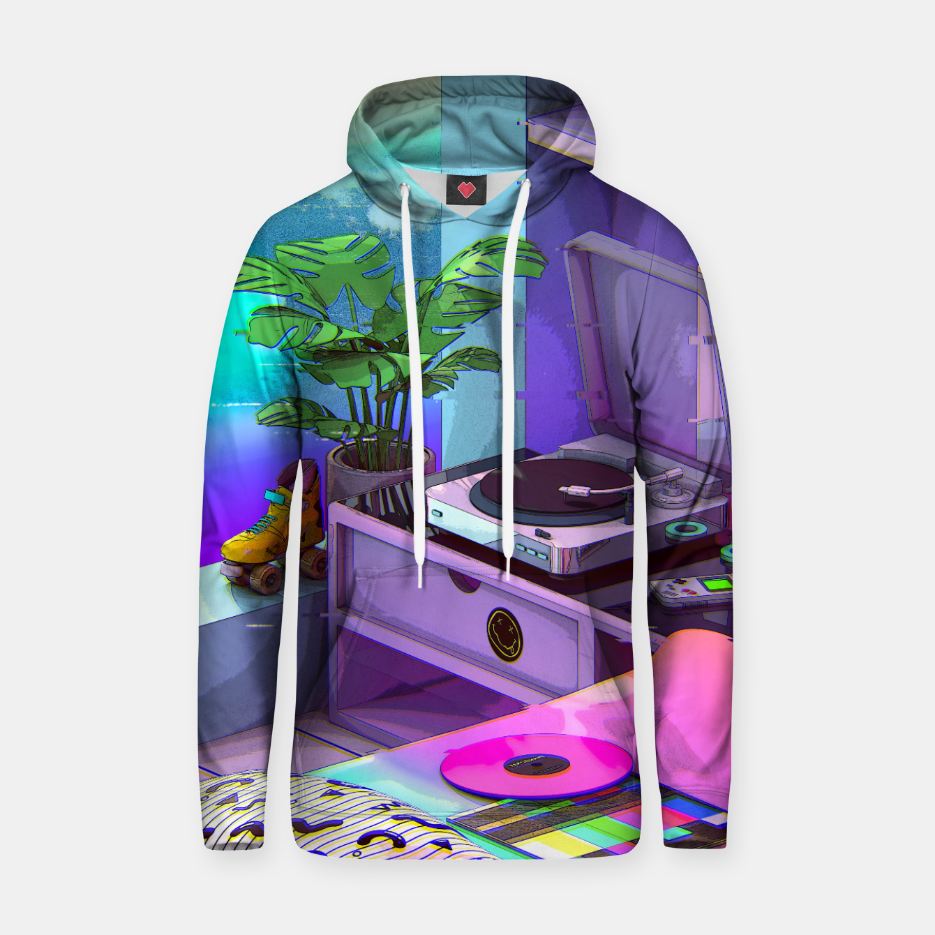 Image of vaporwave aesthetic Cotton hoodie - Live Heroes