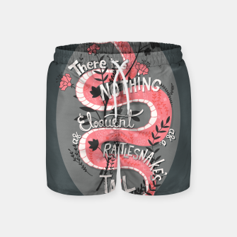 Thumbnail image of There is nothing as eloquent as a rattlesnake's tail, inspirational quote, handlettering design with decoration, native american proverb Swim Shorts, Live Heroes