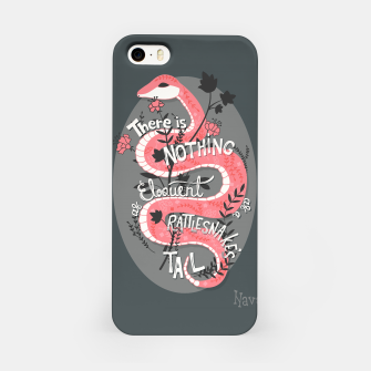 Thumbnail image of There is nothing as eloquent as a rattlesnake's tail, inspirational quote, handlettering design with decoration, native american proverb iPhone Case, Live Heroes