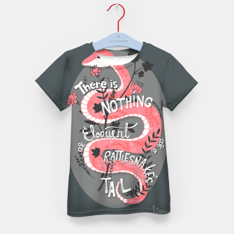 Thumbnail image of There is nothing as eloquent as a rattlesnake's tail, inspirational quote, handlettering design with decoration, native american proverb Kid's t-shirt, Live Heroes