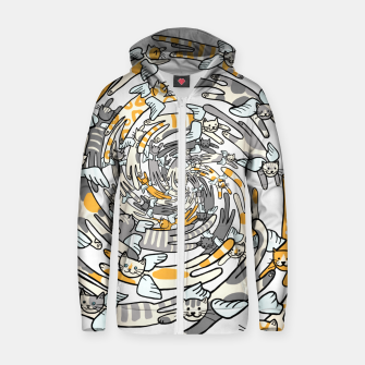 Thumbnail image of Flying cats Cotton zip up hoodie, Live Heroes