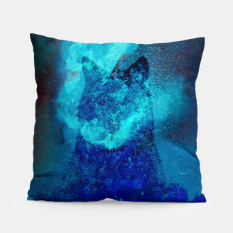 Miniatur Wolf In Galactic Universe Bash In Pine Trees Pillow, Live Heroes