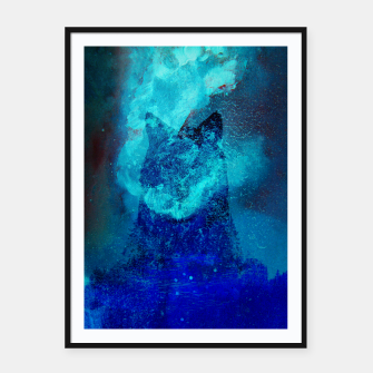 Thumbnail image of Wolf In Galactic Universe Bash In Pine Trees Framed poster, Live Heroes