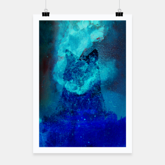 Miniatur Wolf In Galactic Universe Bash In Pine Trees Poster, Live Heroes