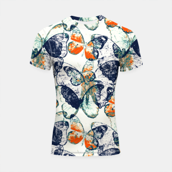 Thumbnail image of Butterfly,blue and red,animal,insect, Shortsleeve rashguard, Live Heroes