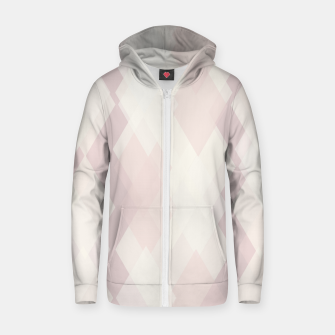Thumbnail image of Confused Argyle in soft colors Cotton zip up hoodie, Live Heroes