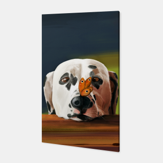 Thumbnail image of Dalmatian Dog With Butterfly Canvas, Live Heroes