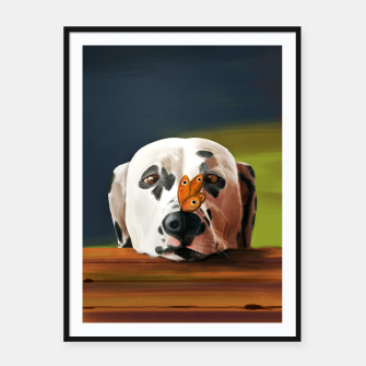 Thumbnail image of Dalmatian Dog With Butterfly Plakaty w ramie , Live Heroes
