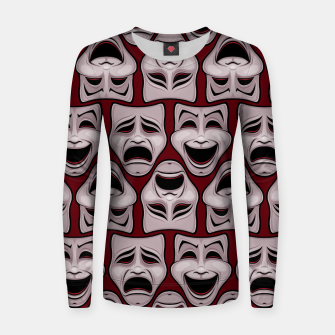 Thumbnail image of Comedy And Tragedy Theater Masks Pattern Women sweater, Live Heroes