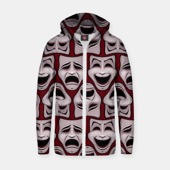 Thumbnail image of Comedy And Tragedy Theater Masks Pattern Zip up hoodie, Live Heroes