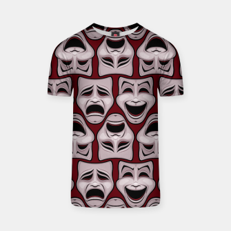 Thumbnail image of Comedy And Tragedy Theater Masks Pattern T-shirt, Live Heroes