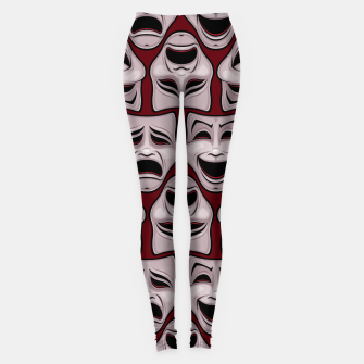 Thumbnail image of Comedy And Tragedy Theater Masks Pattern Leggings, Live Heroes