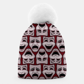 Thumbnail image of Comedy And Tragedy Theater Masks Pattern Beanie, Live Heroes