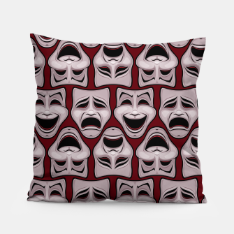 Thumbnail image of Comedy And Tragedy Theater Masks Pattern Pillow, Live Heroes