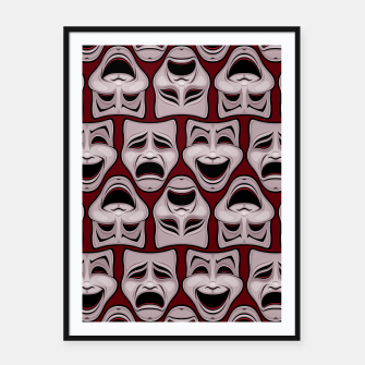 Thumbnail image of Comedy And Tragedy Theater Masks Pattern Framed poster, Live Heroes