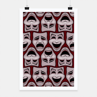 Thumbnail image of Comedy And Tragedy Theater Masks Pattern Poster, Live Heroes