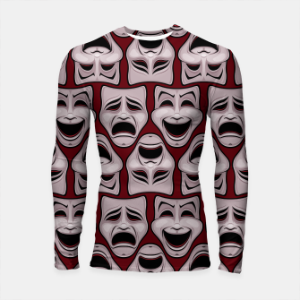 Thumbnail image of Comedy And Tragedy Theater Masks Pattern Longsleeve rashguard , Live Heroes