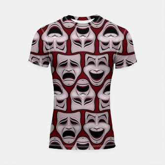 Thumbnail image of Comedy And Tragedy Theater Masks Pattern Shortsleeve rashguard, Live Heroes