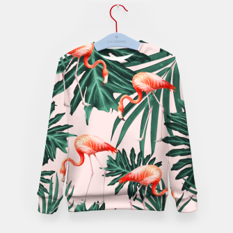 Thumbnail image of Summer Flamingo Jungle Vibes #1 #tropical #decor #art  Kindersweatshirt, Live Heroes