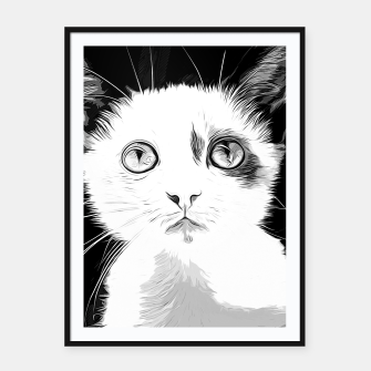 Thumbnail image of gxp cute cat blue eyes vector art black white Framed poster, Live Heroes