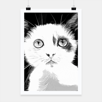 Thumbnail image of gxp cute cat blue eyes vector art black white Poster, Live Heroes