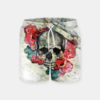 Thumbnail image of Roses and Skull  Swim Shorts, Live Heroes