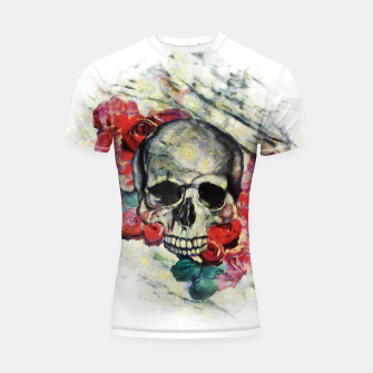 Thumbnail image of Roses and Skull  Shortsleeve rashguard, Live Heroes