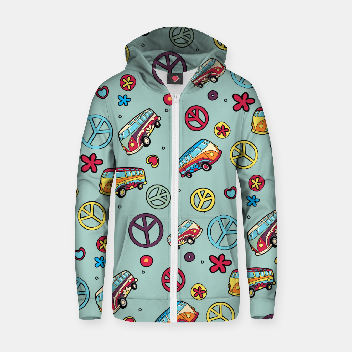 Imagen de Retro  Hippie  Pattern  Zip up hoodie - Live Heroes