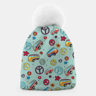 Thumbnail image of Retro  Hippie  Pattern  Beanie, Live Heroes