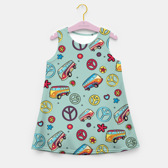Retro  Hippie  Pattern  Girl's summer dress imagen en miniatura