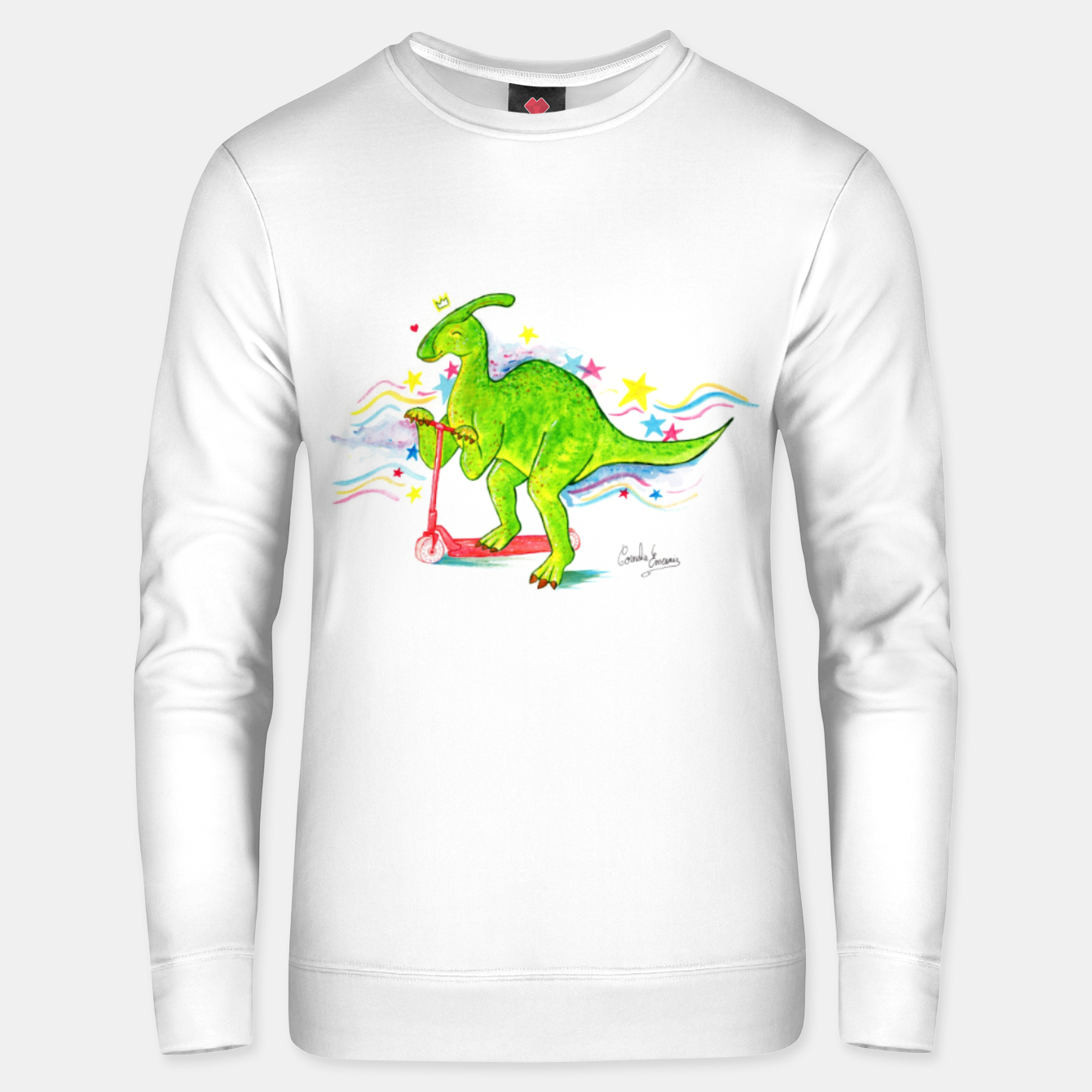 Image de Happy Parasaurolophus with his scooter Unisex sweater - Live Heroes